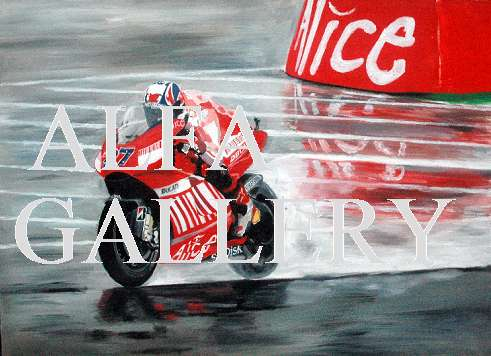 Casey Stoner during a wet Friday practice at Mugello in 2007 - Oil painting