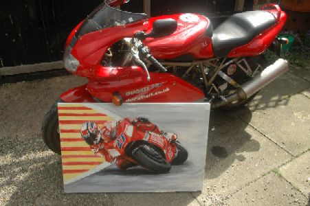 Photo of actual painting next to my Ducati to give a sense of scale.