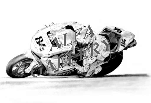 Michel Fabrizio - winning his first World Superbike race - Pencil drawing