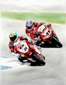 Troy Bayliss and Noriuke Haga fighting for the lead - Gouache and pastel