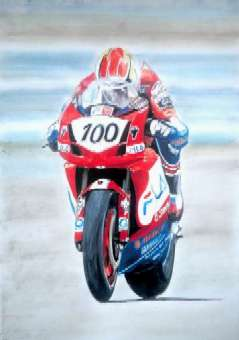 Neil Hodgson - in typical style during his World Superbike Championship year - Gouache and pastel