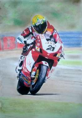 Troy Bayliss at Silverstone 2006 - one of eight wins in a row - Gouache and pastel